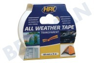 HPX  AT4805 All Weather cinta transparente de 48 mm x 5m adecuado para entre otros Reparación / cinta de sellado, 48mm x 5m