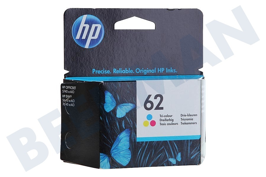 HP Hewlett-Packard  HP 62 Color Cartucho de tinta No. 62 en color